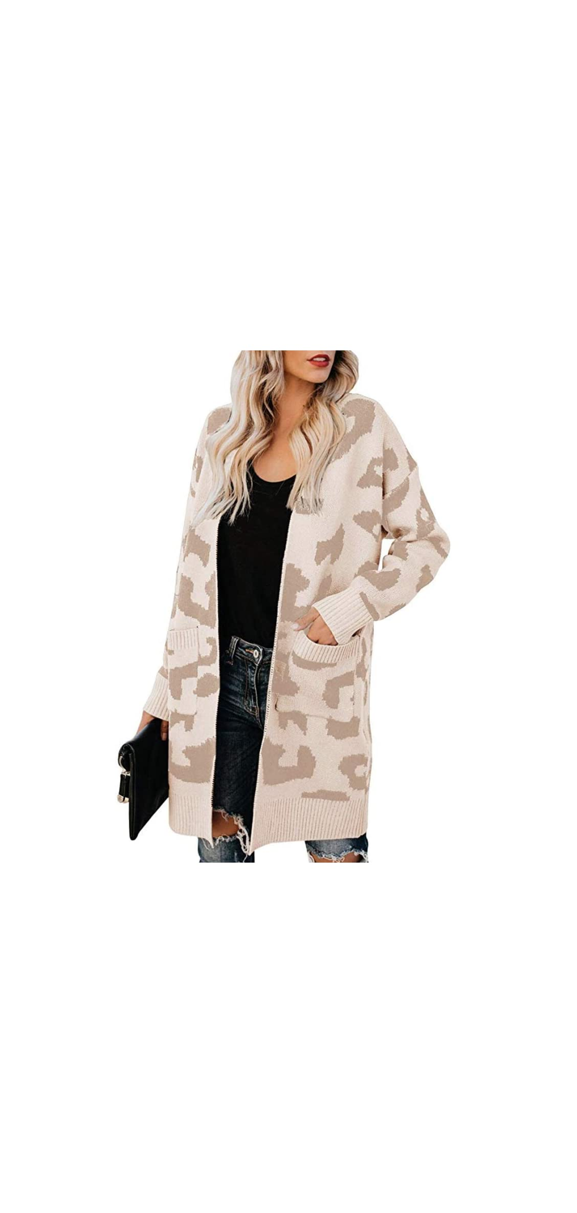 Womens Sweaters Fashion Leopard Print Open Front Cardigan With