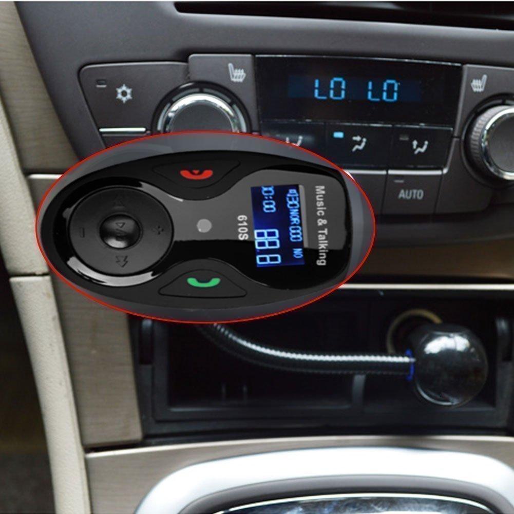 und Ladeanschluss f/¨/¹r iPhone iPhone 6 6 Plus iPhone 5S 5 5C 4S 4 iPo Mic Pantalla LCD Univeral Bluetooth inal/¨/¢mbrico para coche MP3 FM modulador del transmisor-Radio-Adaptador Kfz-Freisprecheinrichtung mit Freisprechen Musiksteuerung