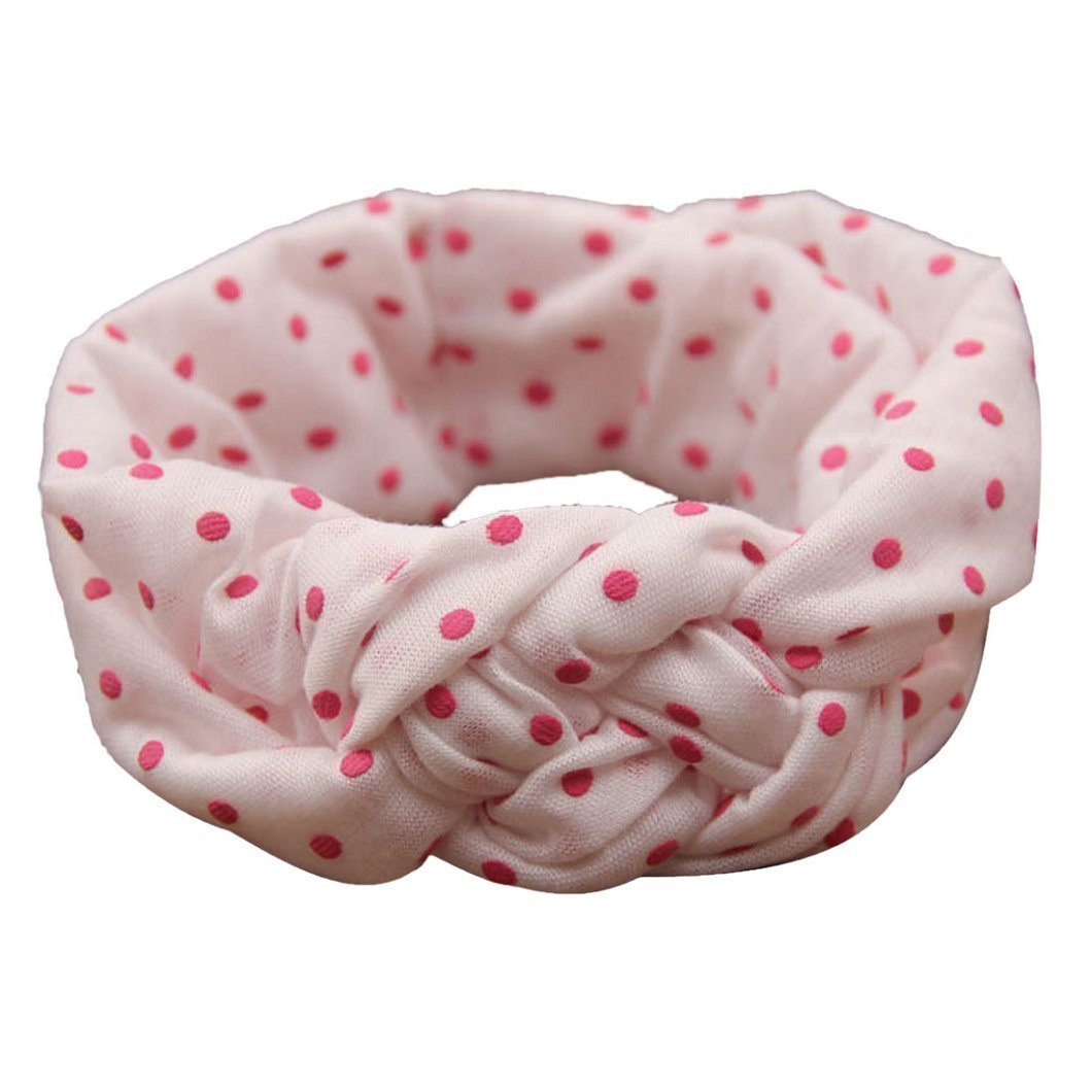 G-2 Pairs-Rose Red/&Beige American Trends Baby Girl Newest Turban Headband Head Wrap Knotted Hair Band