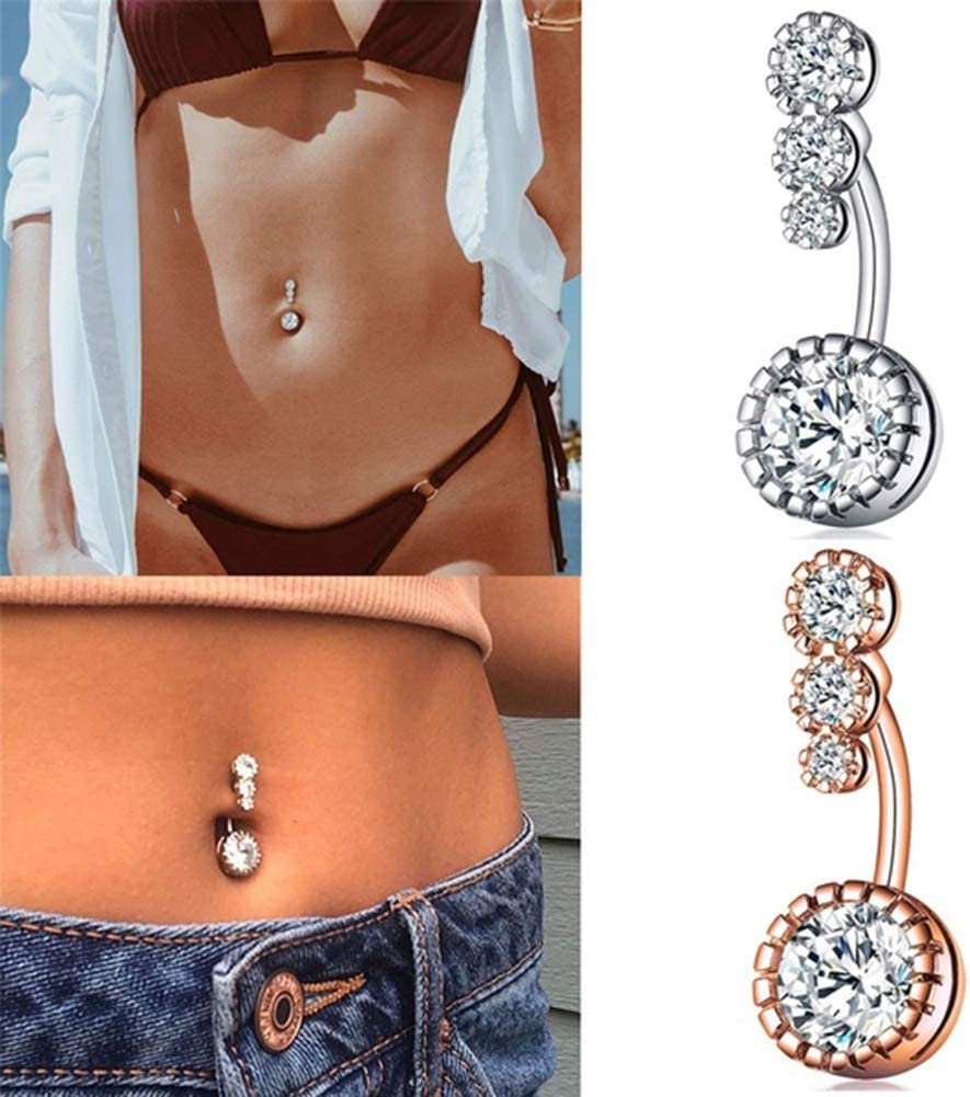 YuFanKits Belly Button Navel Ring 1Pc Women Cubic Zirconia Inlaid Stainless Steel Piercing for Summer Beach Swimming Pool Party Silver