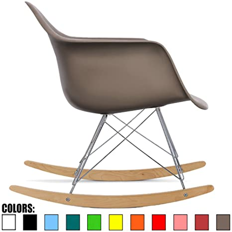 Peachy 2Xhome Taupe Gray Mid Century Modern Molded Shell Designer Plastic Rocking Chair Chairs Armchair Arm Chair Patio Lounge Garden Nursery Living Room Beatyapartments Chair Design Images Beatyapartmentscom