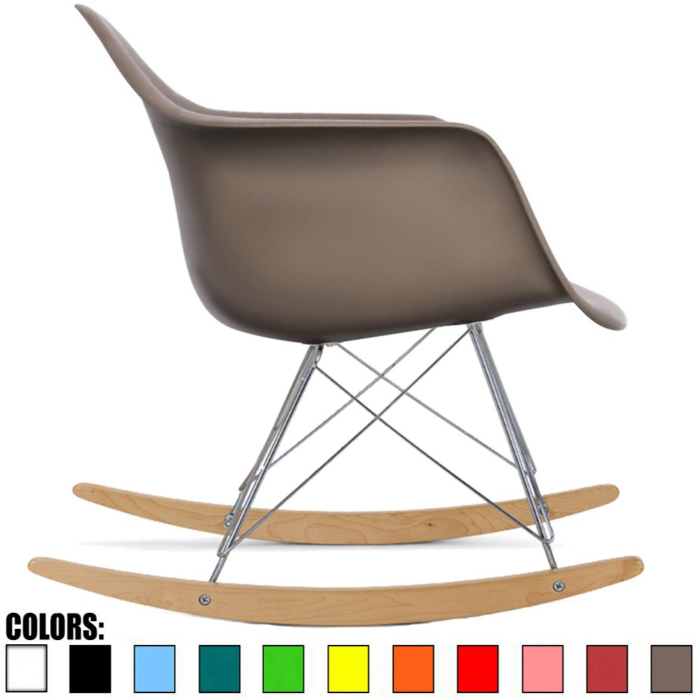 2xhome Gray Mid Century Modern Molded Shell Designer Plastic Rocking Chair Chairs Armchair Arm Chair Patio Lounge Garden Nursery Living Room Rocker Replica Decor Furniture DSW Chrome