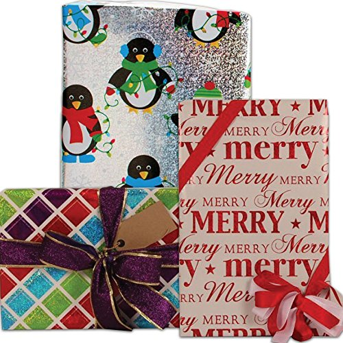 JAM Paper Christmas Design Wrapping Paper Roll Bundle - 25 sq ft - Assorted - 3/pack