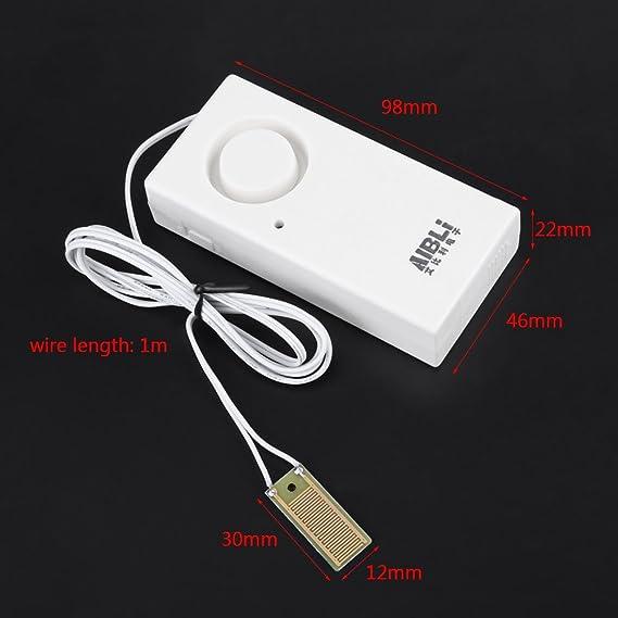 120dB Sensor de Fugas de Agua Detector de Agua de Alta Sensibilidad Alarma de Desbordamiento de Agua para Detección de Fugas (La Batería no Está Incluida): ...