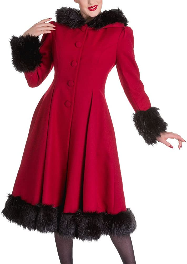 1930s Style Coats, Jackets | Art Deco Outerwear Hell Bunny Red Elvira Coat $147.11 AT vintagedancer.com
