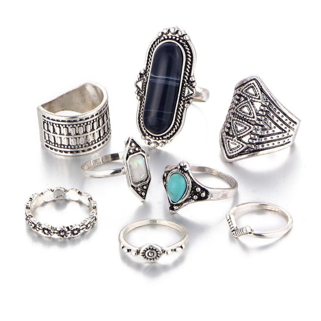 Clearance 8PCS Women Vintage Boho Crystal Flower Knuckle Ring Tibetan Turkish Style (Black)