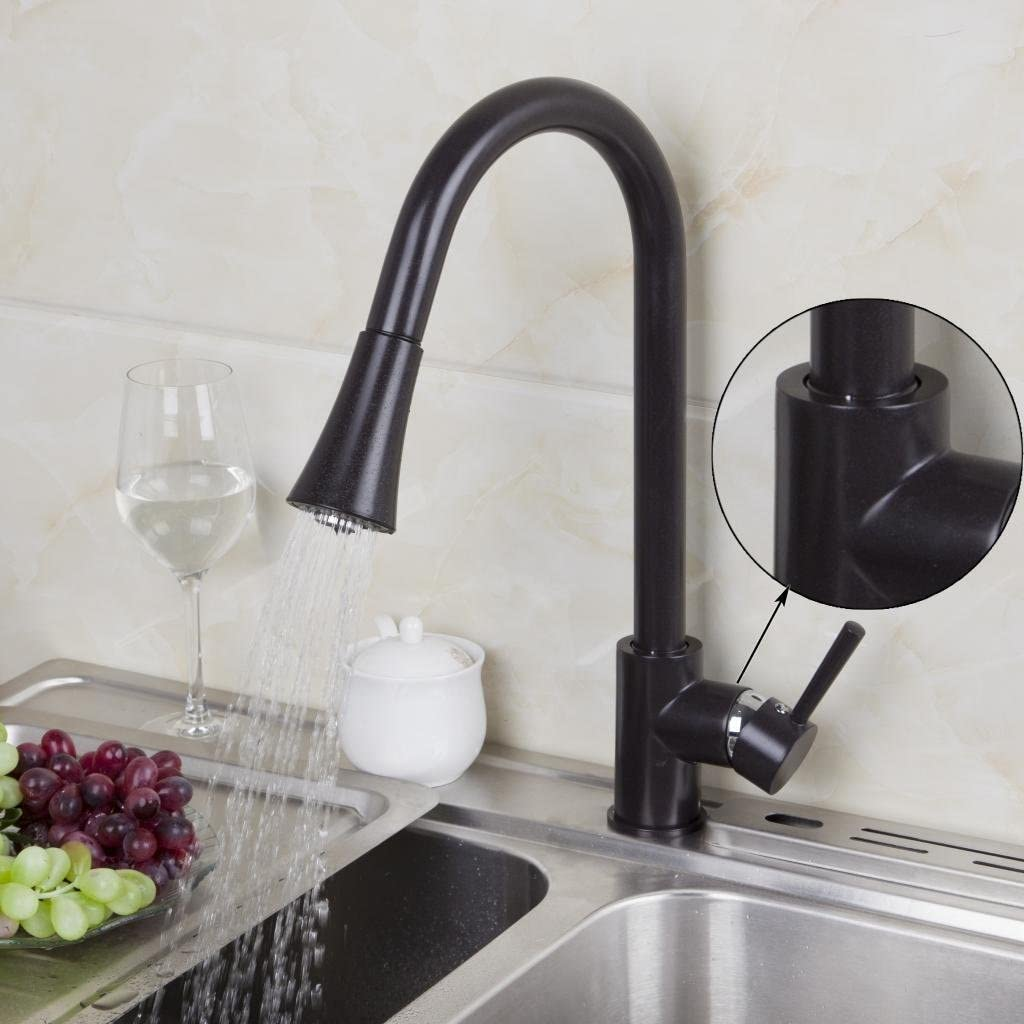 Yanksamrt Bathroom Oil Rubbed Black Pull Out Spout Spray Kitchen Sink Mixer Tap Amazon Com
