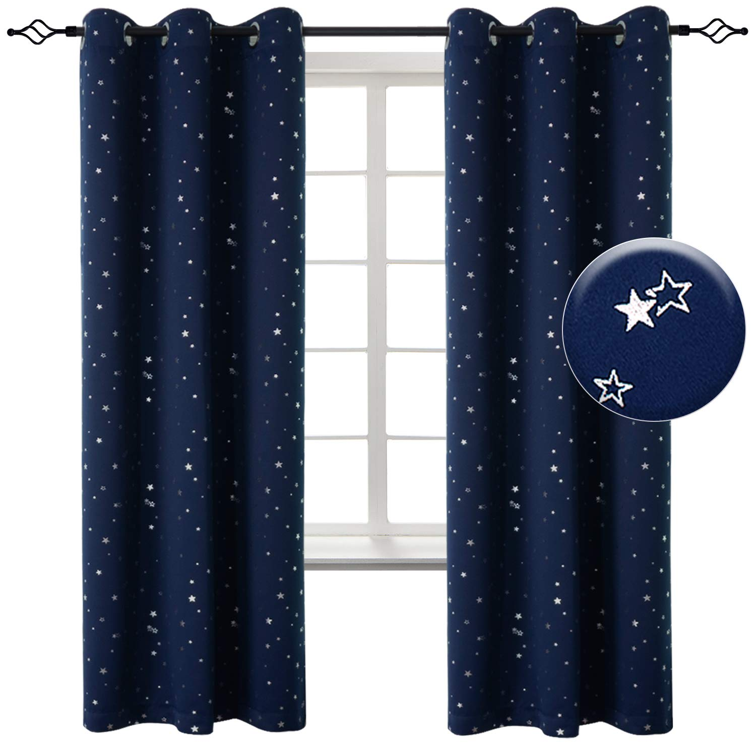 BGment Kids Blackout Curtains for Boys Bedroom - Grommet Thermal Insulated Silver Star Print Room Darkening Curtains for Living Room, Set of 2 Panels (42 x 72 Inch, Navy)