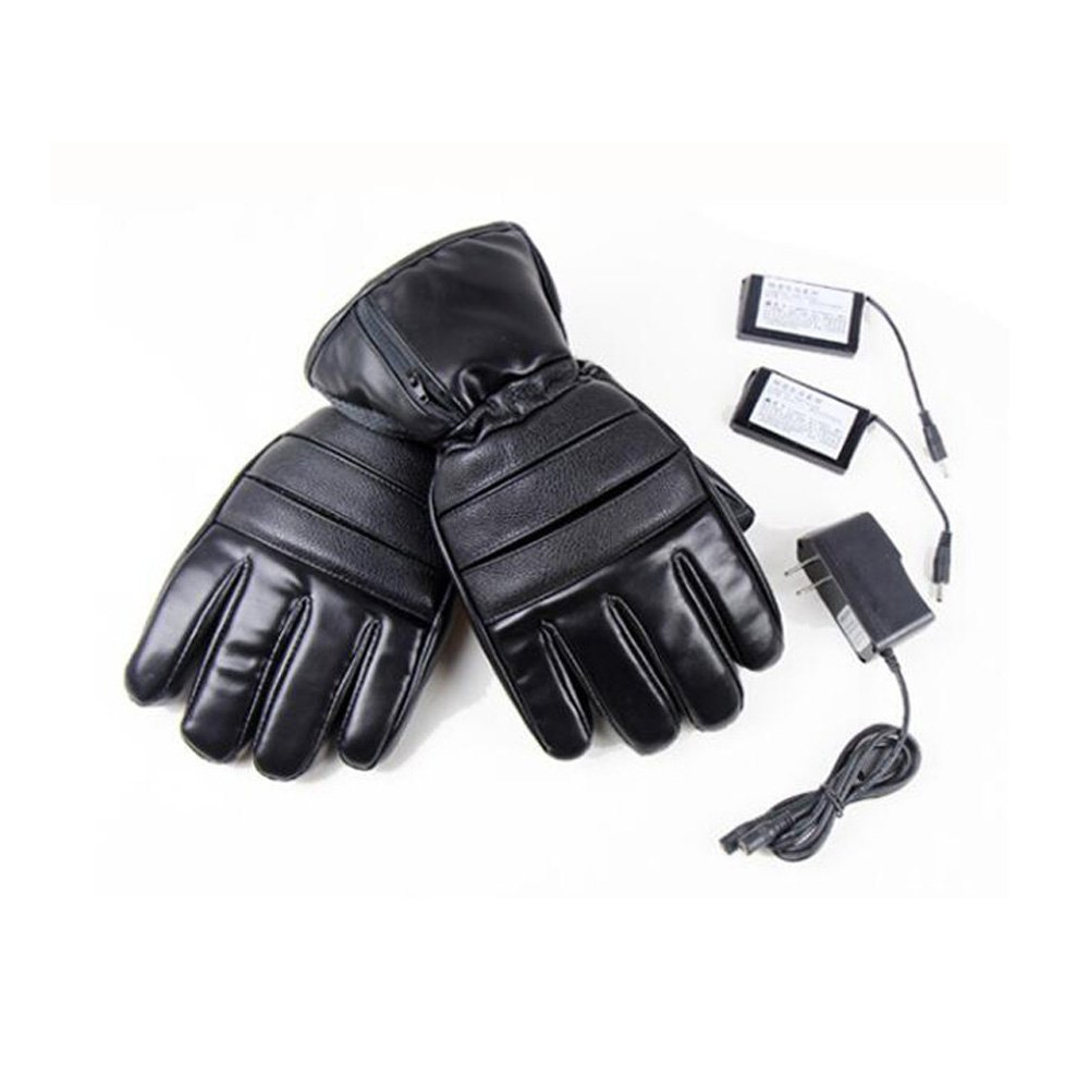 GOODKSSOP 1 Pair PU Leather Windproof Winter Ski Outdoor Work Warmer Gloves Cycling Motorcycle Bicycle Electric Heated Hands Glove with 3000mAh Rechargeable Battery (Black, M) by GOODKSSOP (Image #7)
