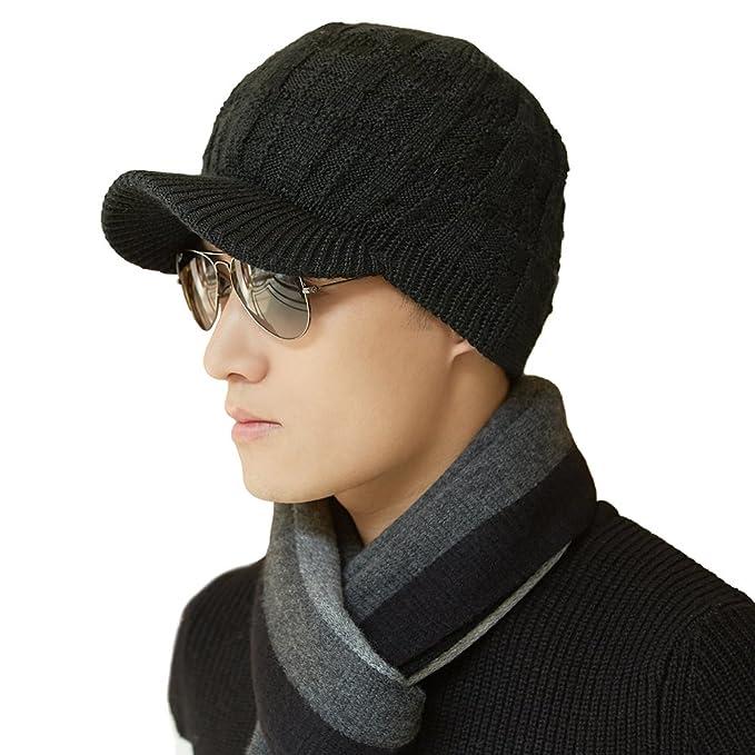 siggi Hombres de Invierno Lana Cable Knit Visera Beanie Sombrero Newsboy  Visera Cap Mujeres  Amazon.es  Ropa y accesorios 67011318b38