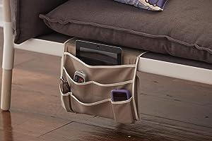 Serta | Furniture Genie-Non-Slip Sofa Chair Armrest Organizer Magazine Holder, Caddy Pocket for Remote Control, Cellphone, iPad, Book, One Size, Taupe