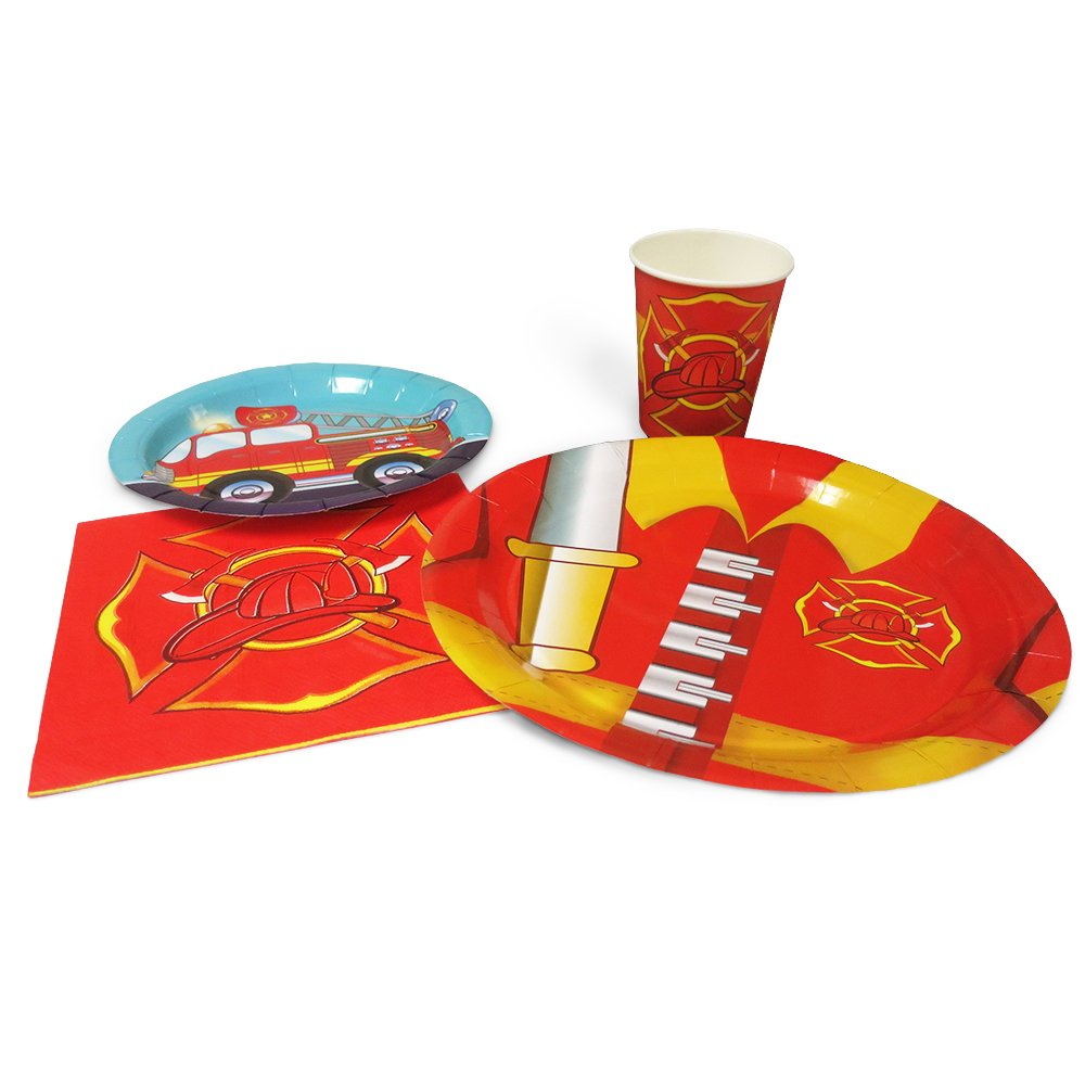 Blue Orchards Fire Truck Standard Party Packs (65+ Pieces for 16 Guests!), Fire Engine Birthday Party, Firefighter Theme Decorations, Tableware Sets