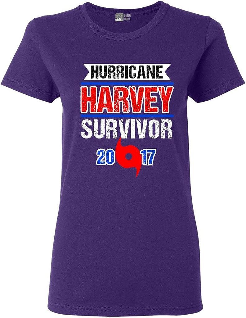Ladies Hurricane Harvey Survivor Cyclone Symbol 2017 Houston Texas DT T-Shirt Tee