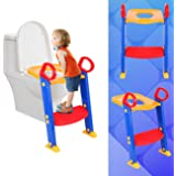 PanelTech Kids Toilet Seat Ladder Baby Toddler Training Toilet Step Potty Seat Non Slip with Step Stool Ladder Adjustable for Boy and Girl