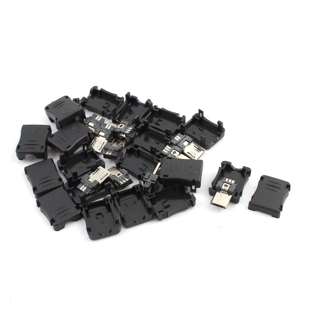 uxcell 10PCS 5-Pin Micro USB Male Connector w Plastic Cover for DIY