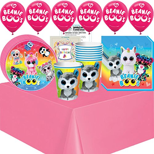 Beanie Boos Party Supplies Birthday Supplies Decoration Pack - Variety Assortment Bundle of Balloons, Plates, Napkins, Cups, Table Cover and Birthday Tattoo ()