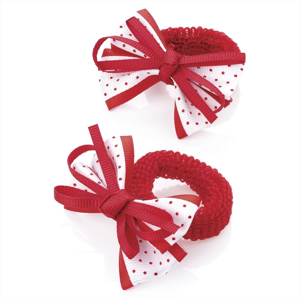 2 x Girls Red & White Bow Motif Hair Elastics/ Bobbles / Ponios Chelsea Jones