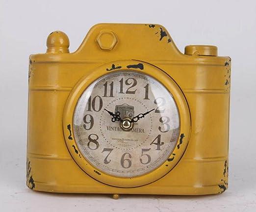 Hacer El Viejo Moda Forjado Relojes De Hierro Pastoral Imitación Reloj De La Vendimia Mesa De La Sala Decorativo Reloj Del Televisor Europea,Yellow-OneSize: Amazon.es: Hogar