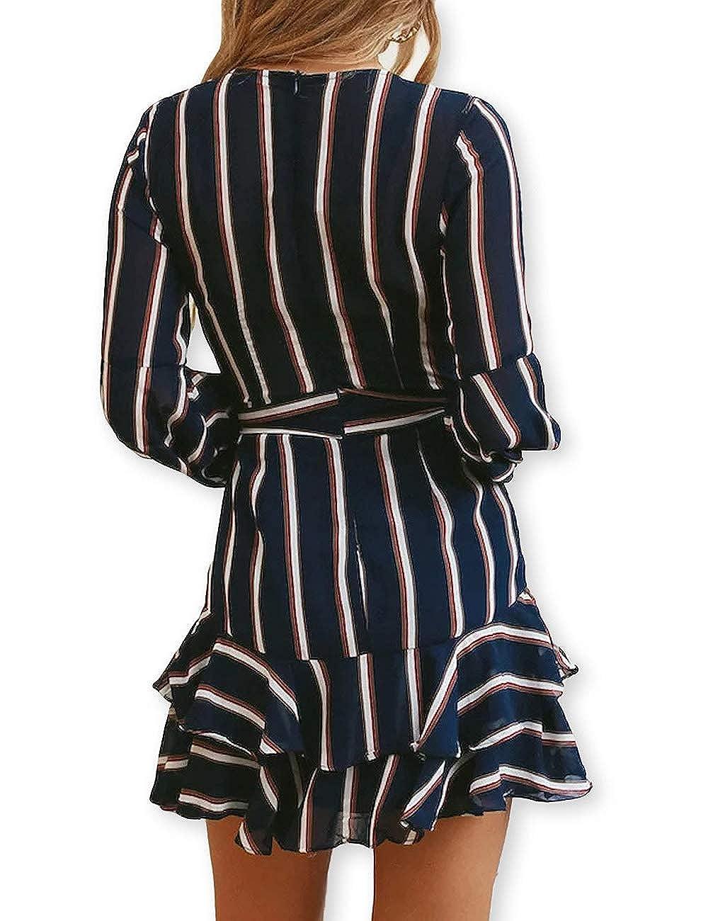 abce501b4d AOOKSMERY Women Sexy Strips Ruffles V-Neck Long Sleeve Empire Waist Short  Dress with Belt at Amazon Women s Clothing store
