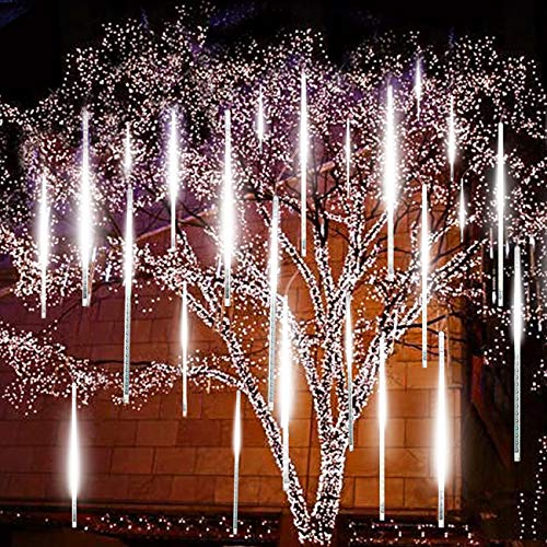 EAGWELL Upgraded Meteor Lights, 20 inches 10 Tube 540 LED Falling Rain Drop Meteor Light, Waterproof Cascading Lights for Holiday Party Wedding Christmas Tree Decoration -Cool White (Christmas Cascading Tree)