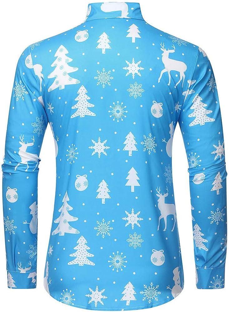 Hombre Camisas Navidad, Manga Larga Casual Navidad Reno Impresión Otoño Invierno Nuevo Camisa de Moda Slim Fit Long Sleeve Blusa Tops Camiseta Botón Shirt Diseño de Personalidad vpass: Amazon.es: Ropa y accesorios