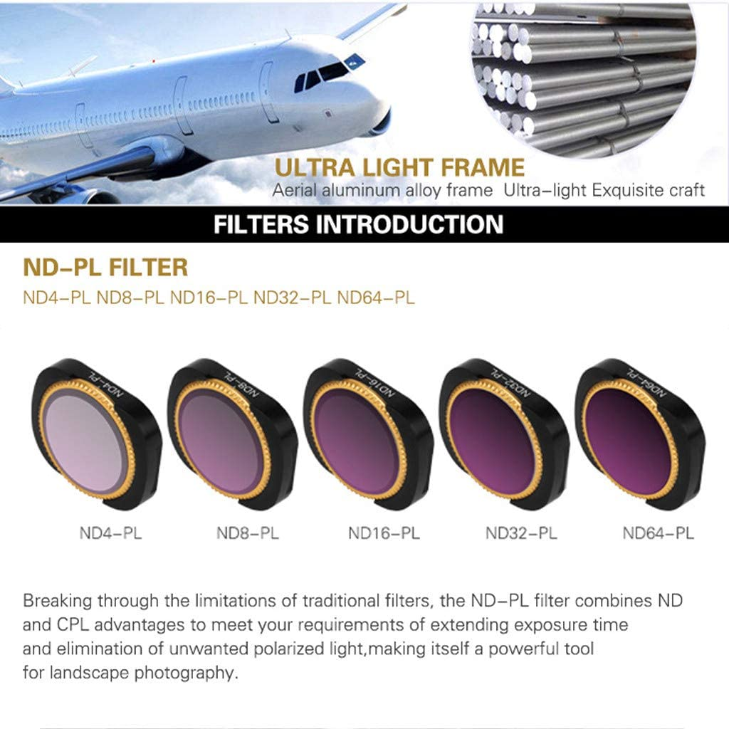ND64-PL Lens Filters Magnetic Quick Install//Remove Rotateable Lens Filter 5PCS ND4-PL ND8-PL Lens Filters for DJI OSMO Pocket ND32-PL ND16-PL