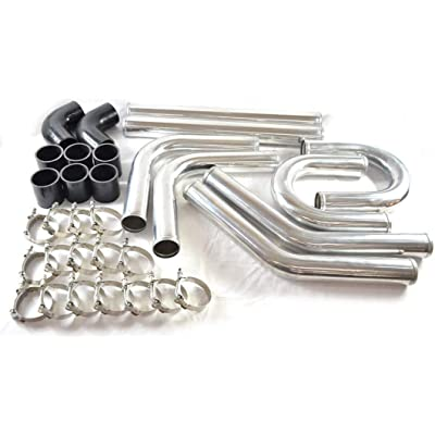 "SUNROAD 2.5"" 8pcs Universal Aluminum Tube Set 610MM Polished Aluminum Turbo Intercooler Pipe+8 Elbow Hose+16 Clamps Kit: Automotive"