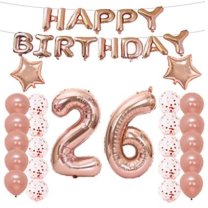 lqqdd 26th birthday decorations party supplies26th birthday balloons rose goldnumber 26 mylar