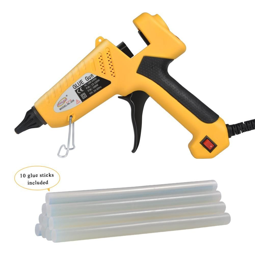GLOGLOW 100-Watt Industrial Glue Gun High Temperature Hot Melt Glue Gun Flexible Trigger with 10pcs Glue Sticks for DIY Small Craft Projects Sealing & Quick Repairs Yellow