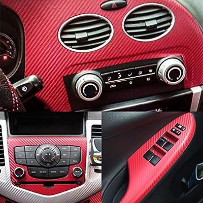 uxcell 3D Carbon Fiber Bubble Free Stretchable Car Vinyl Film 1M x 50cm Burgundy: Automotive