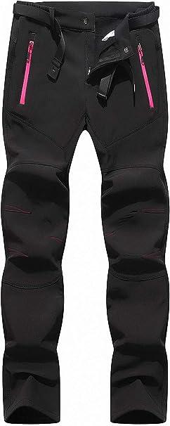 BenBoy Pantalon Montaña Mujer Secado Rápido Impermeable Pantalones Trekking Escalada Senderismo Acampada Transpirables y Ligeros KZ2677W-Black-L