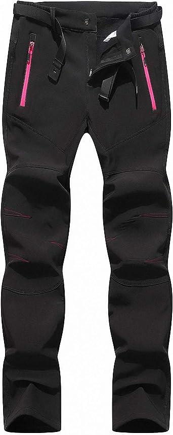 BenBoy Pantalon Montaña Mujer Secado Rápido Impermeable Pantalones Trekking Escalada Senderismo Acampada Transpirables y Ligeros,KZ2677W-Black-XL