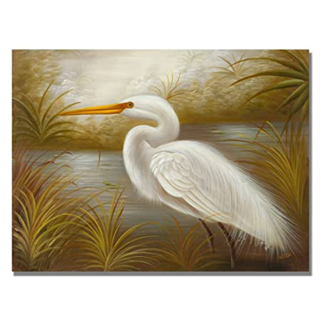 White Heron by Master s Art, 26×32-Inch Canvas Wall Art