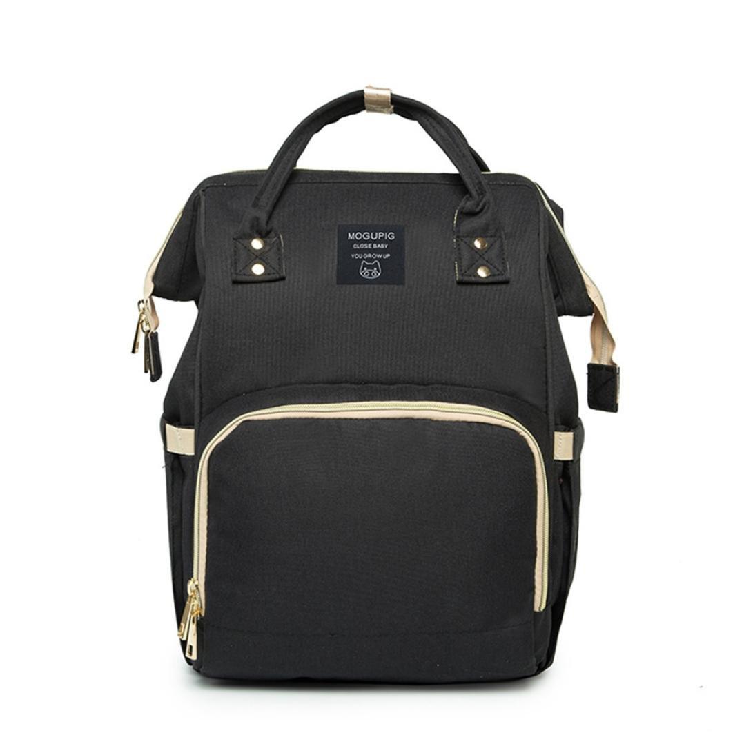 MM&I Mummy Bag Nappy Bag Large Capacity Baby Bag Travel Backpack Desiger Nursing Bag (Black) by MM&I