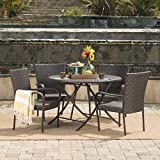 Rafael Outdoor 5 Piece Multi-Brown Wicker Dining Set with Foldable Table and Stacking Chairs