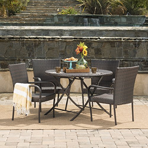 Rafael Outdoor 5 Piece Multi-Brown Wicker Dining Set with Foldable Table and Stacking Chairs by GDF Studio