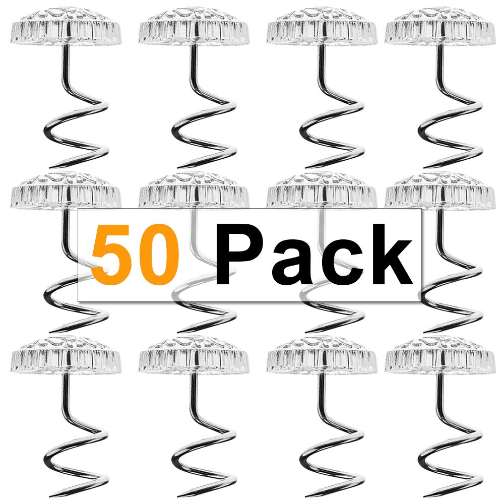 CMD 50pcs Clear Heads Twist Nail Bedskirt Pins – Push Pins Holds Bedskirt Firmly in Place Without Damage, Twist Pins, Set of 50