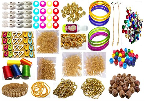 - Goelx Silk Thread Jewellery Making Kit, 50 pair jhumka earring base,Jewelery Making Materials,Full of Jewellery Making Items,Beads (Wooden & Plastic) All Items set with Silk Thread (20 items)