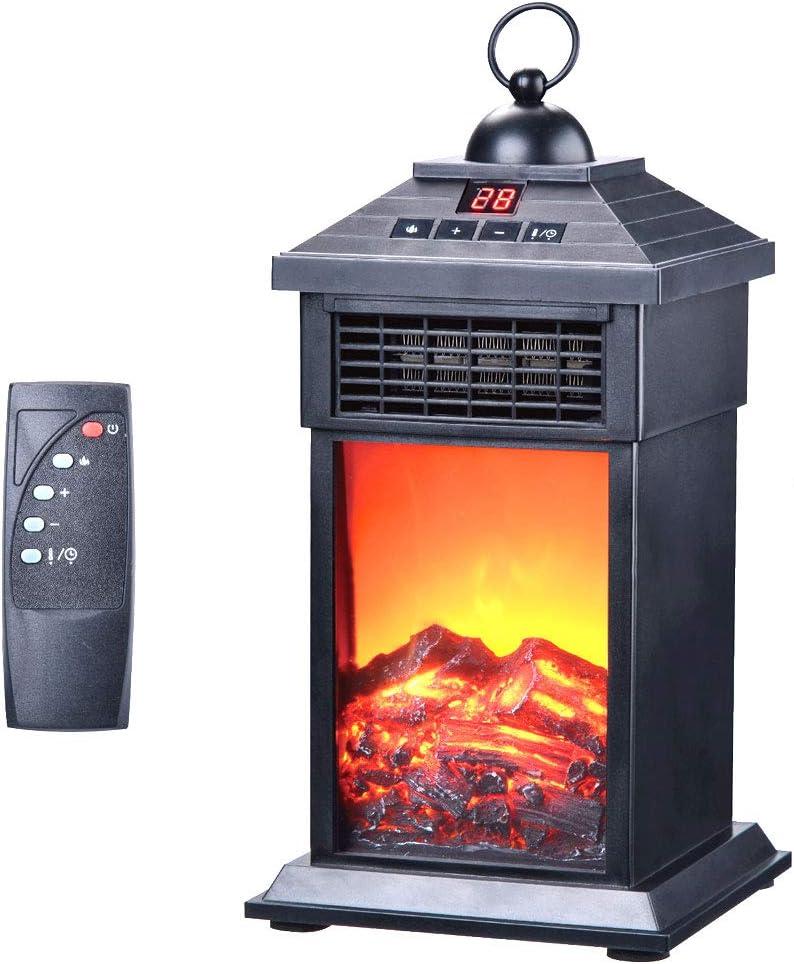 Farol calefactor con efecto de llama, LED, control remoto, bajo consumo, 400 W, portátil