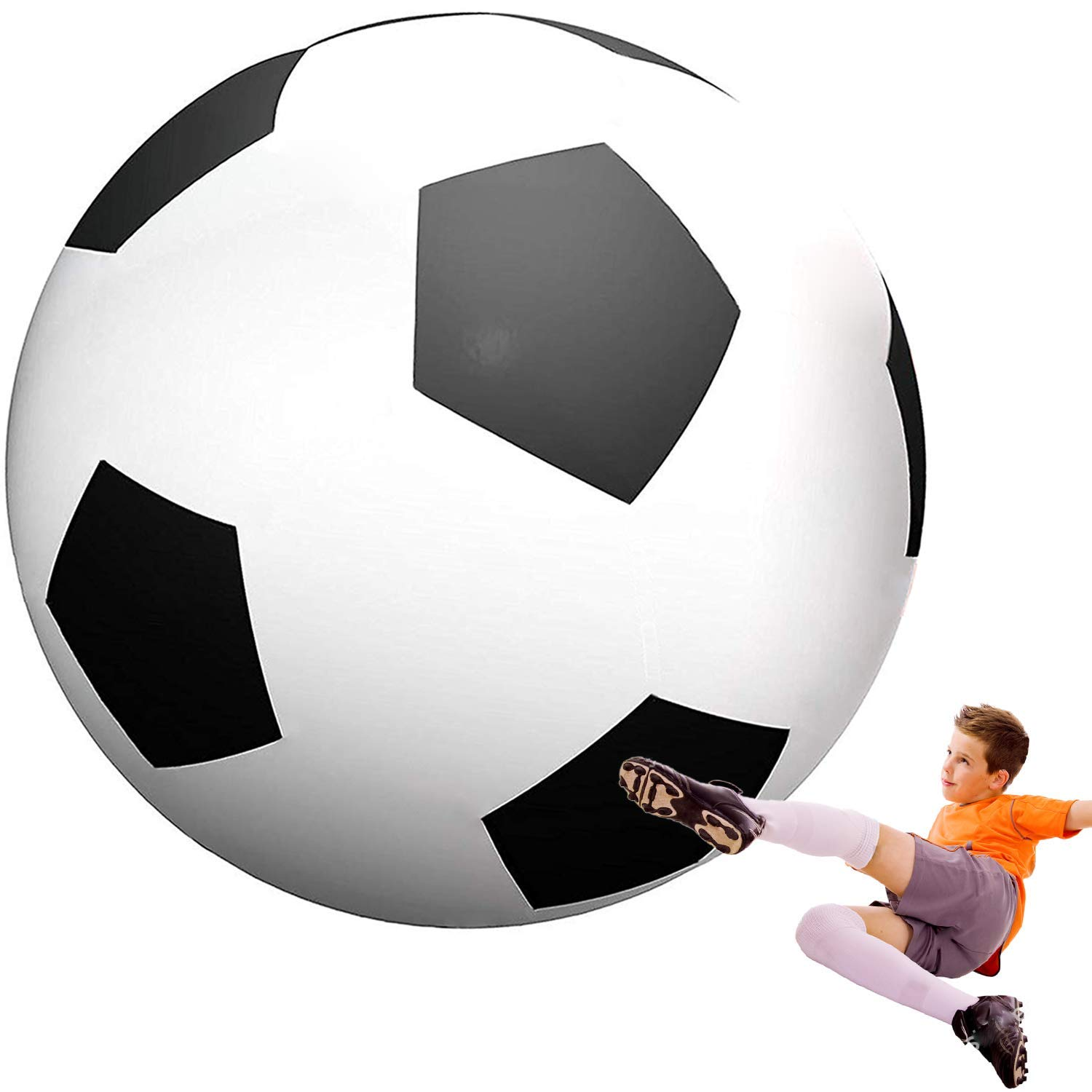 Macticy Giant Beach Ball 6 8 ft Diameter Extra Large Inflatable Beach Ball Pool Toy Jumbo Beach Ball (6' Soccer Ball) by Macticy