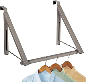 Over the Door Closet Valet-Heavy Duty Double Storage Hooks- Expandable and Collapsible Hanging Rack Organizer Bar Perfect for Clothes and Towels Ideal for Bathrooms, Dorm Rooms, & Condos(Satin Nickel)