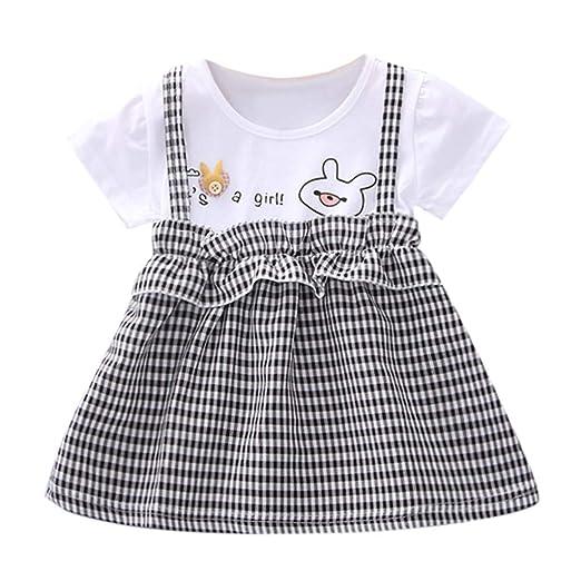 05a1eef3d9589 Amazon.com: Newborn Baby Girls Dress Summer Short Sleeve Print ...