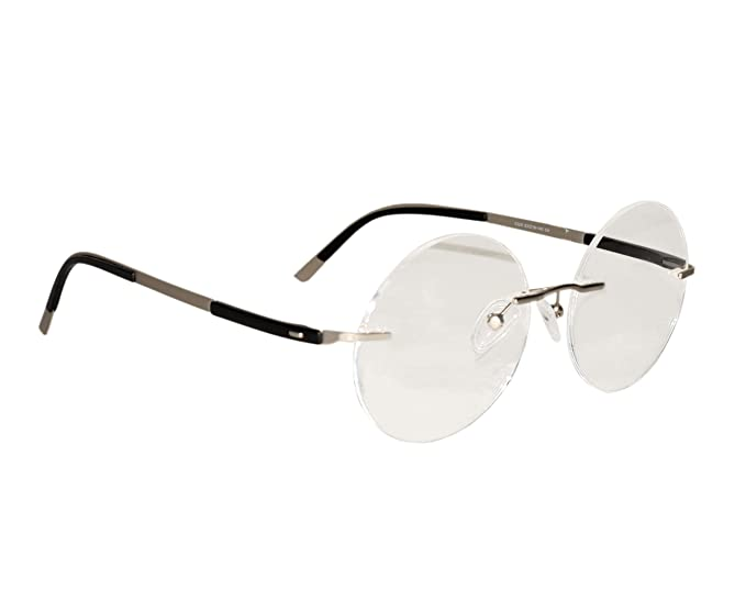 be51b1c9a5 Image Unavailable. Image not available for. Colour  Peter Jones SIlver  Round Unisex Rimless Optical Frame ...