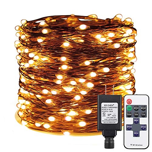 ER CHEN Warm White LED String Lights Plug in, 165ft 500 LED Supper-Long Fairy Lights Dimmable with RF Remote, Copper Wire Indoor/Outdoor Decorative Lights for Bedroom, Patio, Garden, Yard (Decorative Cord Wrapped Around A Christmas Tree)