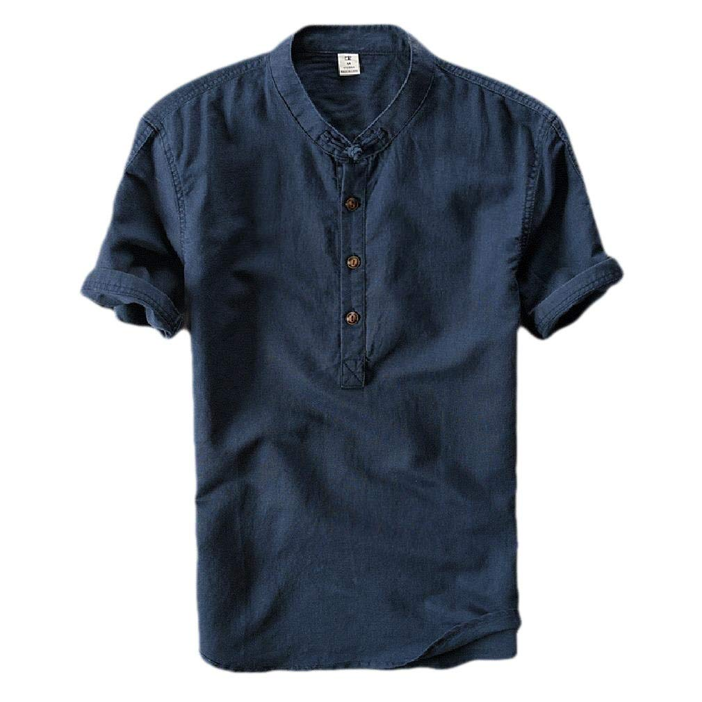 HEFASDM Mens Short Sleeve Linen Solid Button Down Collared Dress Shirts