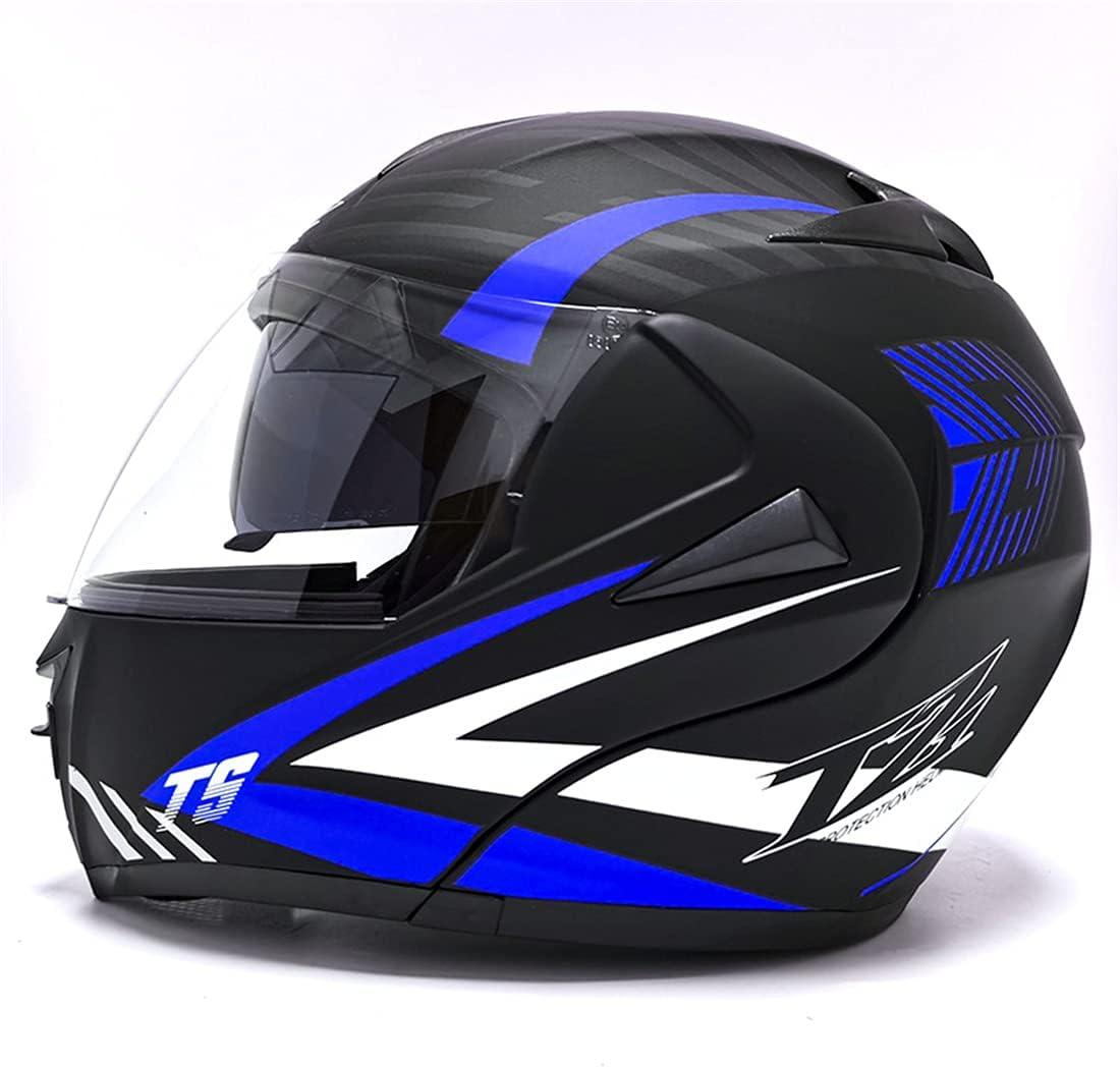 pour Scooter Chopper FENGCHENG Casque Modulable ECE 22.05 Homologu/é Casque Moto Modulable Double Visi/ère//Modulable Bleu Mat