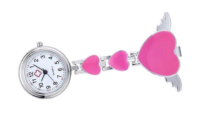clip en el reloj del fob de la enfermera con el ángulo de corazón broche ala colgando de bolsillo reloj de cuarzo rosa: Amazon.es: Relojes