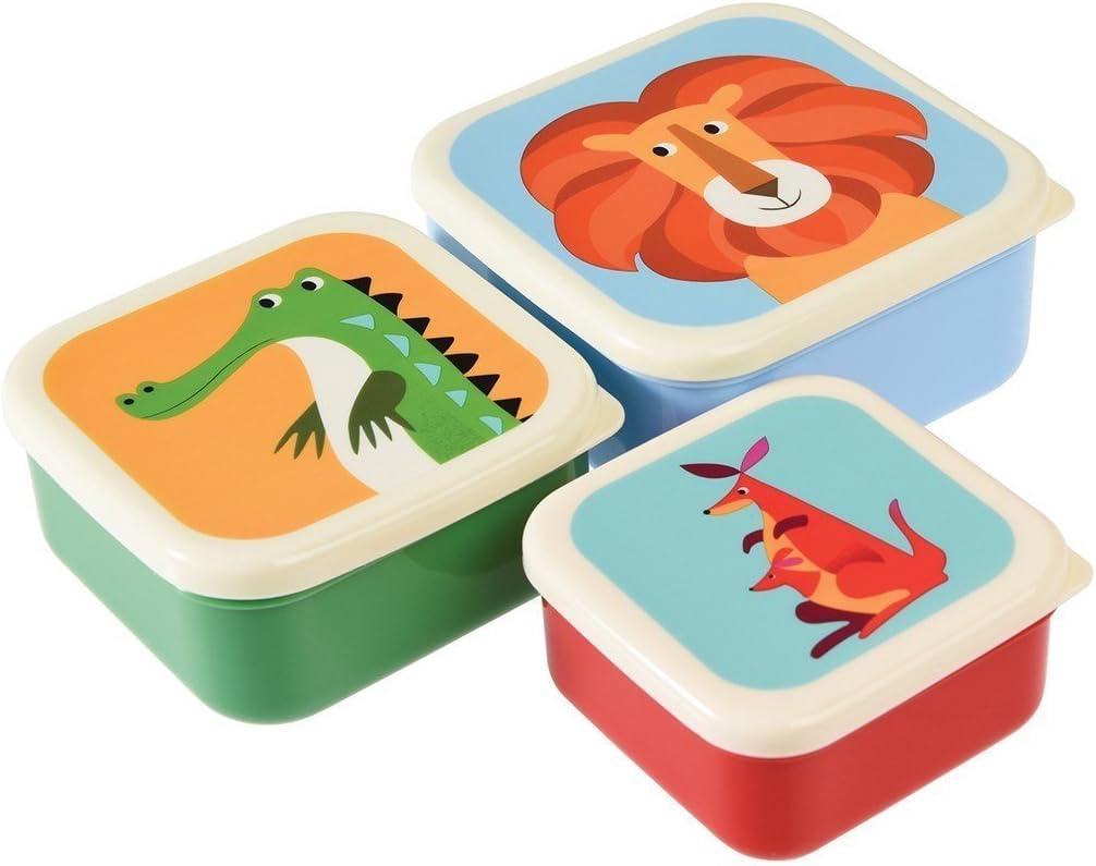 3 Snackdosen Frischhaltedosen Brotboxen Safari Tiere Rex International Set