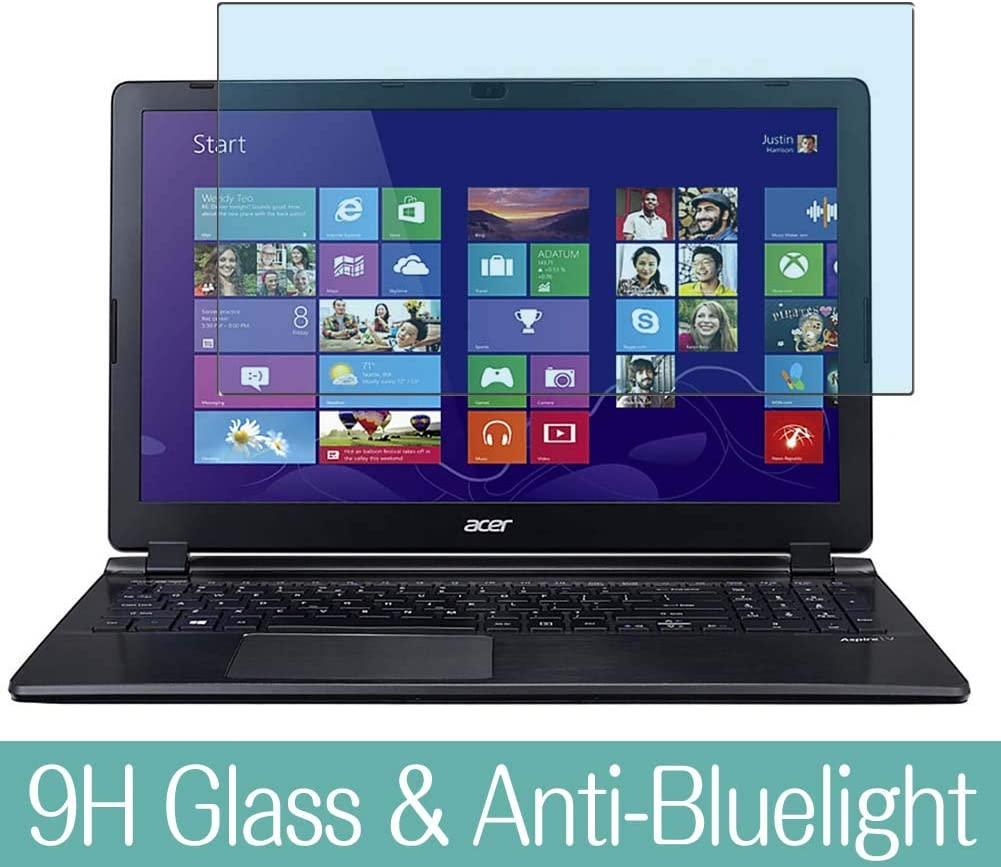 "Synvy Anti Blue Light Tempered Glass Screen Protector for ACER Aspire V5-552 / V5-552G / V5-552P / V5-552PG 15.6"" Visible Area 9H Protective Screen Film Protectors (Not Full Coverage)"