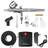 Gocheer Mini Airbrush Kit, Dual-Action Air Brush Pen Gravity Feed Airbrush for Makeup Art Craft Nails Cake Decorating Modelin